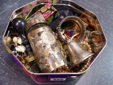 A SHIP MOTIF DESK SEAL, A MEXICAN SILVER AND GLASS JAR, A CONTINENTAL SILVER CAMEL BELL, COSTUME