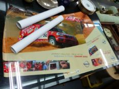 TWO 2002 DAKAR RALLY POSTERS, TWO 2005 TOURBRITANNIA POSTERS AND ANOTHER POSTER