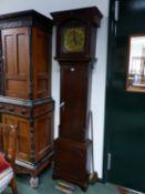 AN OAK LONG CASED CLOCK, THE SQUARE BRASS DIAL INSCRIBED JOHN GLAZEBROOK MANSFIELD