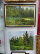 20th CENTURY RUSSIAN SCHOOL. A WOODED LAKE VIEW, SIGNED INDISTINCTLY, OIL ON CANVAS, EXTENSIVELY