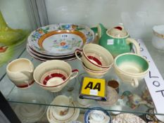 SUSIE COOPER TEA WARES, AN AA BADGE, ST CHRISTOPHER MEDALLION AND 4 PORCELAIN PLATES