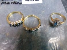 THREE 9ct GOLD RINGS TO INCLUDE TWO GEMSET AND DIMAMOND EXAMPLES AND ONE SAPPHIRE EXAMPLE. GROSS