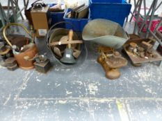 SETS OF SCALES, WEIGHTS, COPPER COAL SCUTTLES, A HAND BELL AND SHOE LASTS