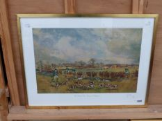 AFTER JOHN KING, A COLOUR PENCIL SIGNED LIMITED EDITION PRINT OF THE RADLEY COLLEGE BEAGLES AT