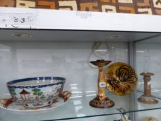 A CHINESE BOWL, A JAPANESE 2 HANDLED TRAY, TWO DOULTON CANDLESTICKS AND A COCKEREL DISH