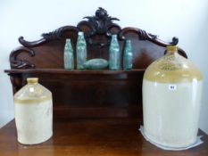 TWO FLAGONS AND SMALL GLASS BOTTLES