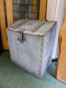A DATED GALVANISED LOG BIN WITH MASSIVE LOCK CLASP