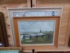 20th CENTURY ENGLISH SCHOOL, BY THE ESTUARY, OIL ON BOARD, 34 x 46cm, TOGETHER WITH A PICTURE BY