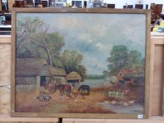 19th CENTURY ENGLISH NAIVE SCHOOL. THE FARMYARD, SIGNED INDISTINCTLY, OIL ON CANVAS. 72 x 91cms.