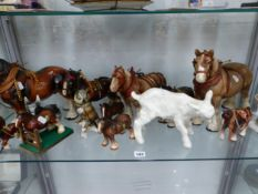 BESWICK AND OTHER CART HORSE FIGURES, A LAMB, A DONKEY, AN OWL AND A GOOSE GIRL