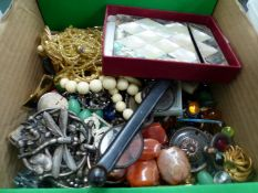 A QUANTITY OF LOOSE BEADS, COSTUME JEWELLERY INC. MARCASITE AND PASTE SET PIECES AN IVORY CARVED