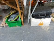 TWO GAMES WORKSHOP PLASTIC CASES OF TOY FIGURES, LANDSCAPE STANDS, COPIES OF WARHAMMER MAGAZINE
