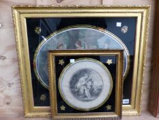 TWO ANTIQUE PRINTS OF CLASSICAL FIGURES IN EGLOMISE MOUNTS AND GILT FRAME
