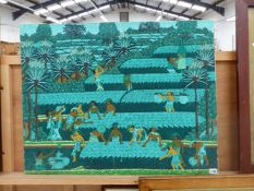 A BALINESE SCHOOL OIL PAINTING OF FIGURES WORKING IN FIELDS, SIGNED AND INSCRIBED, OIL ON CANVAS,