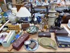 SETS OF SCALES, WEIGHTS, CUTLERY, A WOODEN CRUCIFIX, A CHINESE BOWENITE CARVING OF A LADY, ETC.