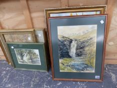 A SMALL COLLECTION OF DECORATIVE FURNISHING PICTURES, INCLUDING WATERCOLOURS, ETC, SIZES VARY
