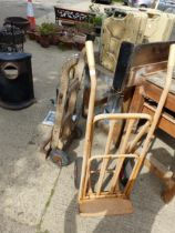 A VINTAGE SACK TRUCK AND ONE OTHER