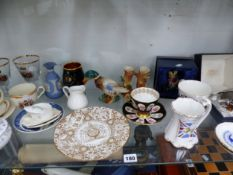WORCESTER GLAZED PARIAN WARES, A MOUSTACHE CUP AND SAUCER, CORONATION AND ORNAMENTAL CERAMICS