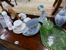 VARIOUS FIGURINES, DECORATIVE GLASS AND CHINA