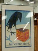 A DUTCH COLOUR ADVERTISING POSTER, FRAMED,99 X 69cm