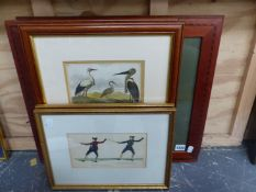 AFTER HENRY ALKEN, TWO HAND COLOURED COCK FIGHTING PRINTS, 22 x 30cms, TOGETHER WITH FOUR ANTIQUE