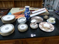 NORITAKE DINNER WARES, COLCLOUGH TEA WARES, A CHINESE VASE AND A 1975 CHRISTMAS METAL PLATE