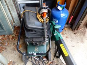 A HAYTER LAWN MOWER, A HEDGE CUTTER AND A LEAF BLOWER