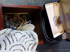 A COLLECTION OF VINTAGE COSTUME JEWELLERY, A BEADED EVENING PURSE, LOTUS PEARLS, IVORY BUCKLE ETC.