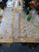 DRINKING GLASS, DECANTERS, JUGS AND A BOWL
