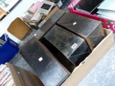FOUR BLACK PAINTED METAL FILING BOXES