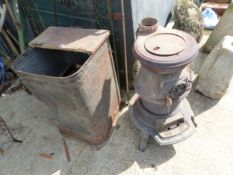 A LOG BURNING STOVE TOGETHER WITH A LOG BIN