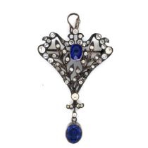 AN ANTIQUE EDWARDIAN BELLE EPOCH COBALT BLUE SYNTHETIC SPINEL AND PASTE PENDANT STAMPED 935. THE