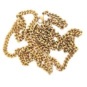 A 9ct HALLMARKED GOLD CURB NECKLACE. LENGTH 77.5cms. WEIGHT 40.4grms.