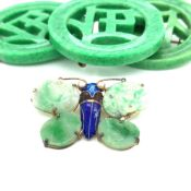 AN INTERESTING SET OF GREEN CARVED DYED BONE EASTERN CHARACTER PIECES, COMPRISING OF A BROOCH AND