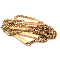 A 9ct HALLMARKED GOLD CURB AND BAR CHAIN. LENGTH 77cms. WEIGHT 41.4grms.