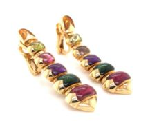BVLGARI. A PAIR OF GRADUATED TOURMALINE AND CITRINE 18ct YELLOW GOLD DROP EARRINGS. THE TAPERING