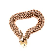 AN ANTIQUE ROSE GOLD DOUBLE CURB BRACELET ADAPTED FROM A GRADUATED ALBERT, EACH LINK STAMPED 375,