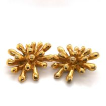 A PAIR OF VINTAGE CHRISTIAN LACROIX GOLD PLATED CLIP ON EARRINGS, SIGNED AND STAMPED TO REVERSE MADE