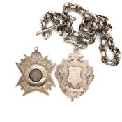 TWO ANTIQUE HALLMARKED SILVER PRESENTATION WATCH CHAIN FOBS, SUSPENDED ON A CONTINENTAL WHITE