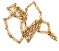 A 9ct YELLOW GOLD HALLMARKED FANCY OVAL BEAD LINK NECKLACE. LENGTH 40cms. WEIGHT 5.86grms.