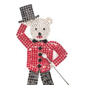A LARGE VINTAGE SIGNED BUTLER AND WILSON RHINESTONE TAP DANCING BEAR BROOCH WITH TOP HAT AND CANE.