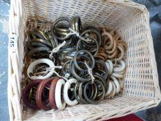 A QUANTITY OF ANTIQUE AND OTHER LARGE DIAMETER CURTAIN RINGS.