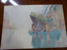 HARRY ROUNTREE (1878 - 1950) A RIVER VIEW, SIGNED WATERCOLOUR UNFRAMED 38.5 x 55cm