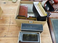 A VINTAGE STEREOSCOPIC VIEWER AND VARIOUS BOXED SLIDES AND PHOTOGRAPHS.
