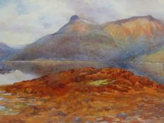 MARY MORTON (EARLY 20th C. ENGLISH SCHOOL) A HIGHLAND LAKE VIEW, SIGNED WATERCOLOUR. 24 x 35cms