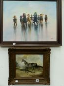 A NAIVE OIL PAINTING OF A HORSE IN A LANDSCAPE, 26 x 31cms TOGETHER WITH A CONTEMPORARY SCENE OF A