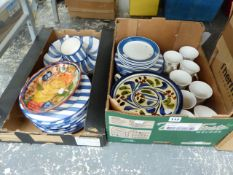 A GERMAN POTTERY FRUIT DECORATED PART DINNER SERVICE, AND OTHER POTTERY.