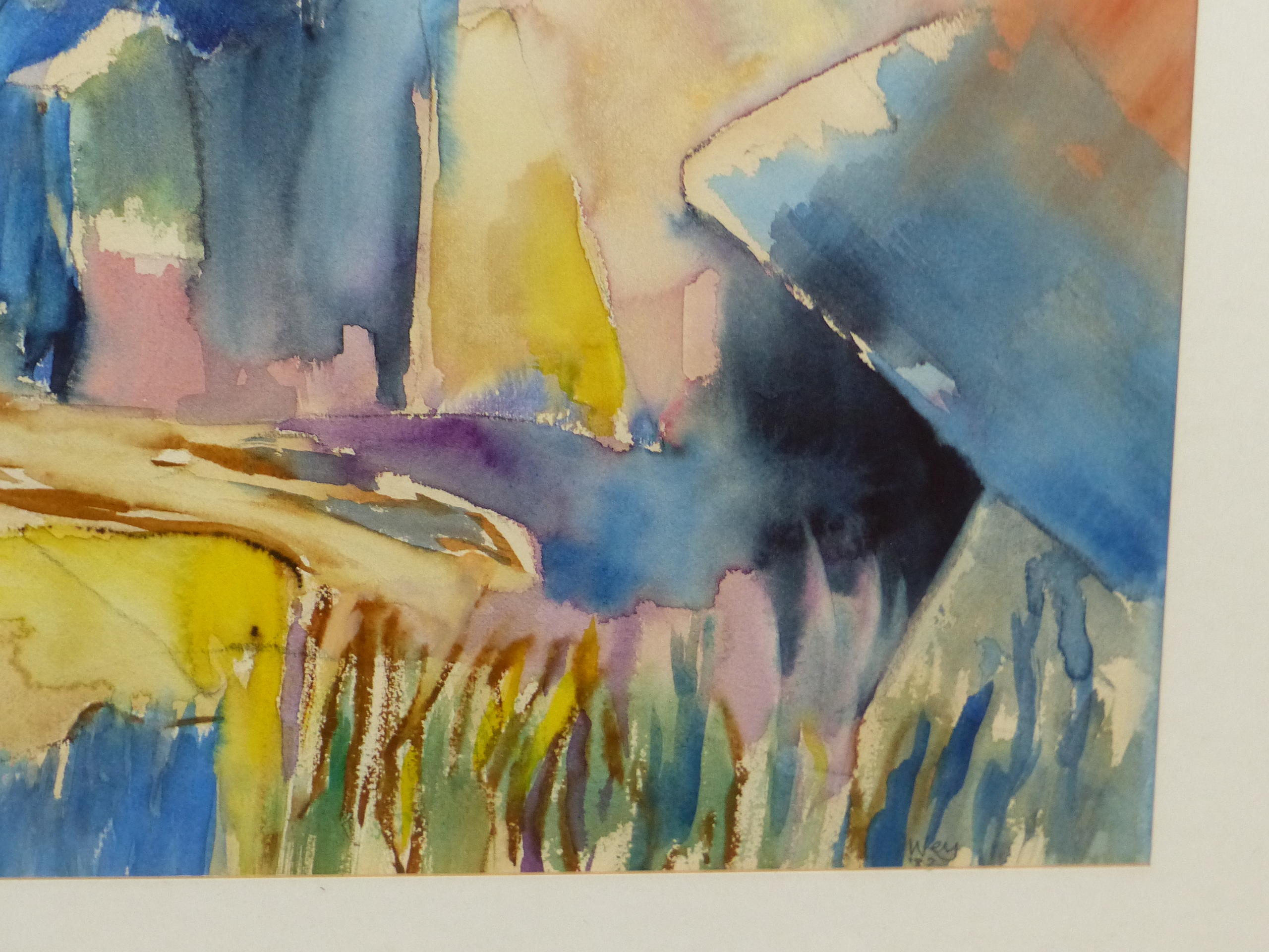 •PETER WEY (20th / 21st CENTURY ENGLISH SCHOOL). ARR. LANDSCAPE IN BLUE, INSCRIBED VERSO, - Image 3 of 6