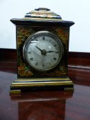 A CHINOISERIE DECORATED SMALL BRACKET CLOCK.