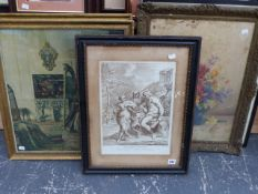 AFTER P. DE CORTONA, AN ANTIQUE PRINT THE JUDGEMENT OF HERCULES 38 x 28cm, TOGETHER WITH OTHER
